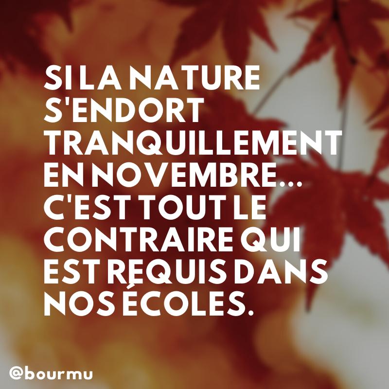 Si la nature s'endort tranquillement en novembre, dans nos écoles, c'est tout le contraire qui est requis.